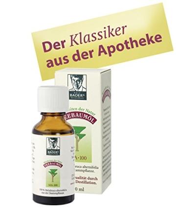 BADERs Teebaumöl MA-100, 30ml. Pharma-Qualität, doppelt destilliert. 100% reines melaleuca alternifolia. Hilfreich bei unreiner Haut, Akne, Warzen etc. Lichtschutz-Faltschachtel. Pharma-Nr: 0237966 -