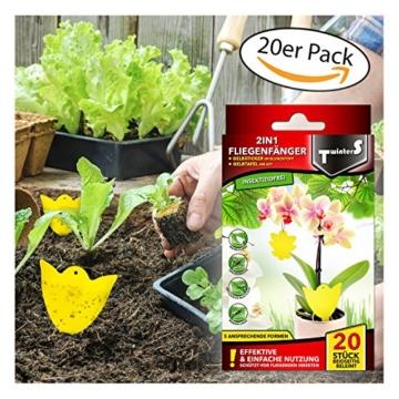 2in1 Fliegenfallen - Gelbsticker, Gelbtafeln, Gelbstecker, dekorative Leimfalle 20 Stück -